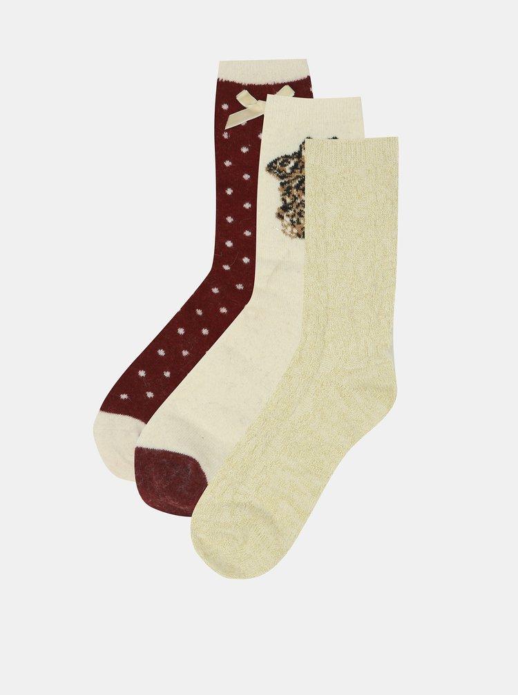 Sada tří párů ponožek s příměsí angorské vlny ve vínové a krémové barvě Something Special
