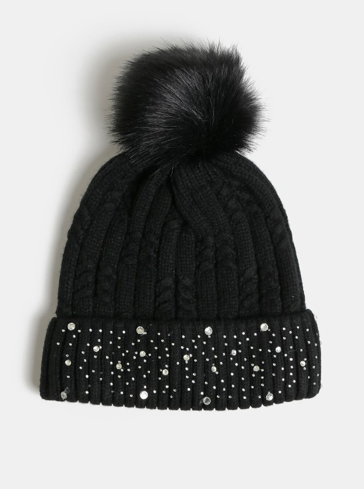 Černá čepice s bambulí a ozdobnými kamínky v dárkovém balení Something Special Diamante hat