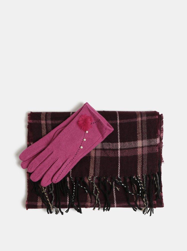 Sada šály a vlněných rukavic v růžové a fialové barvě v dárkovém balení Something Special