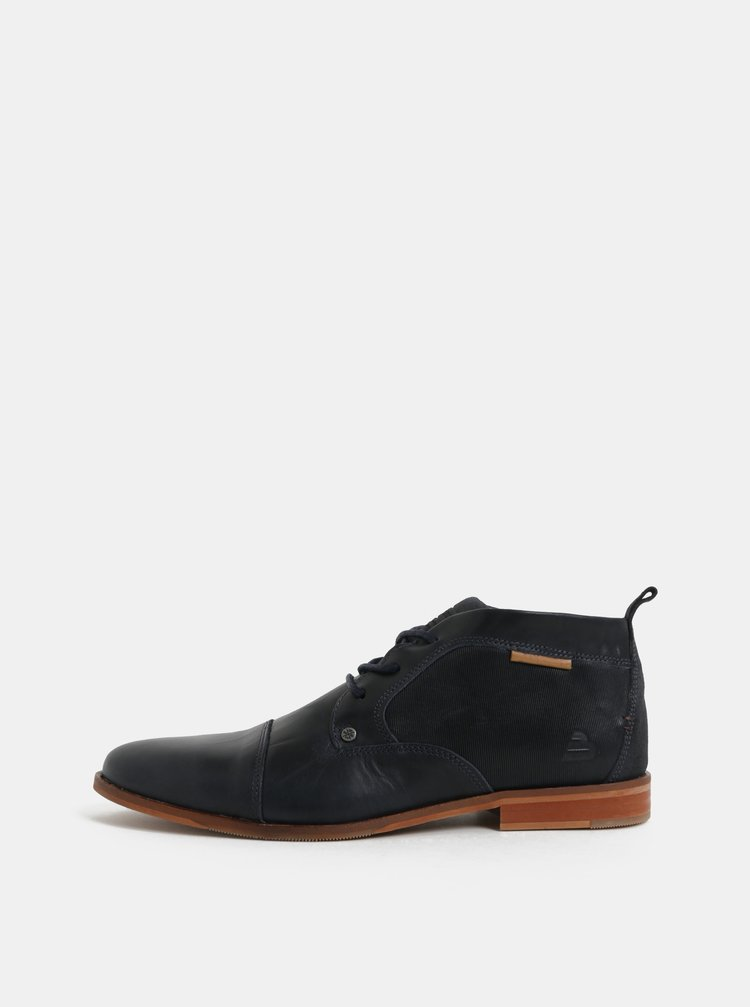 Tmavomodré pánske kožené členkové topánky Bullboxer