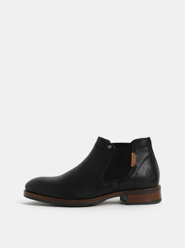 Čierne pánske kožené chelsea topánky Bullboxer