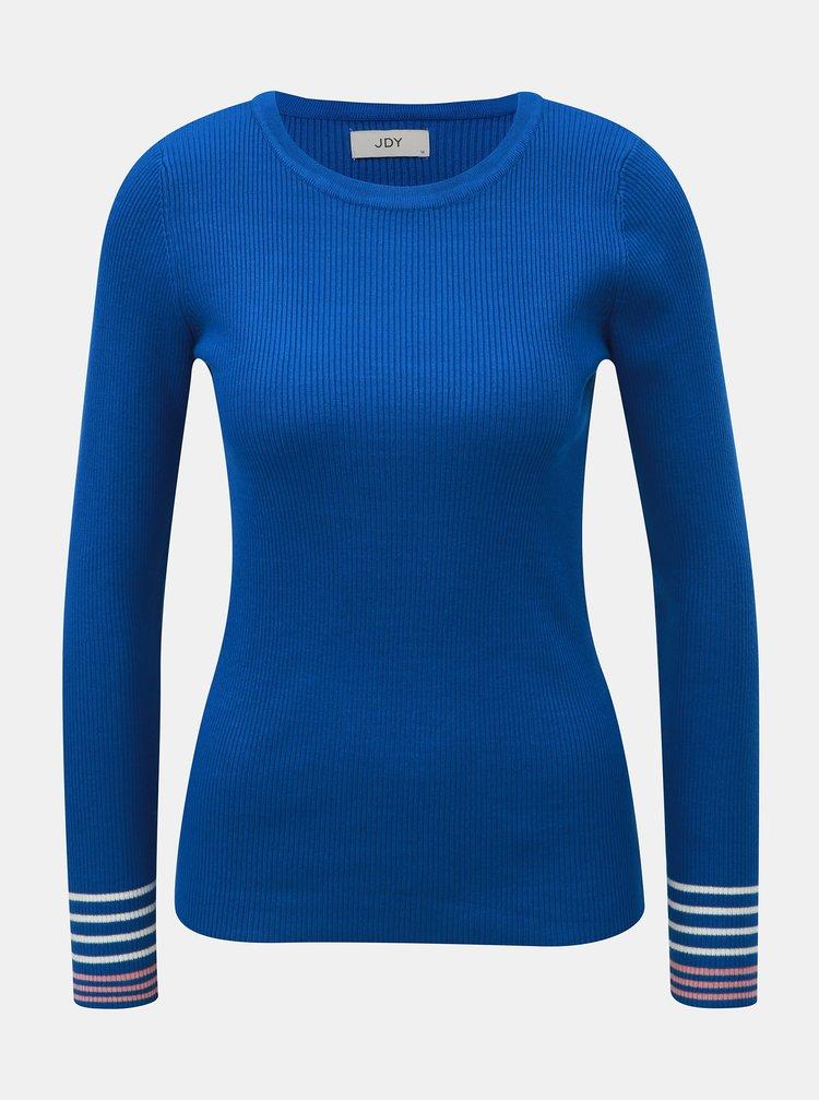 Modrý rebrovaný sveter s pruhmi na rukávoch Jacqueline de Yong Tracy