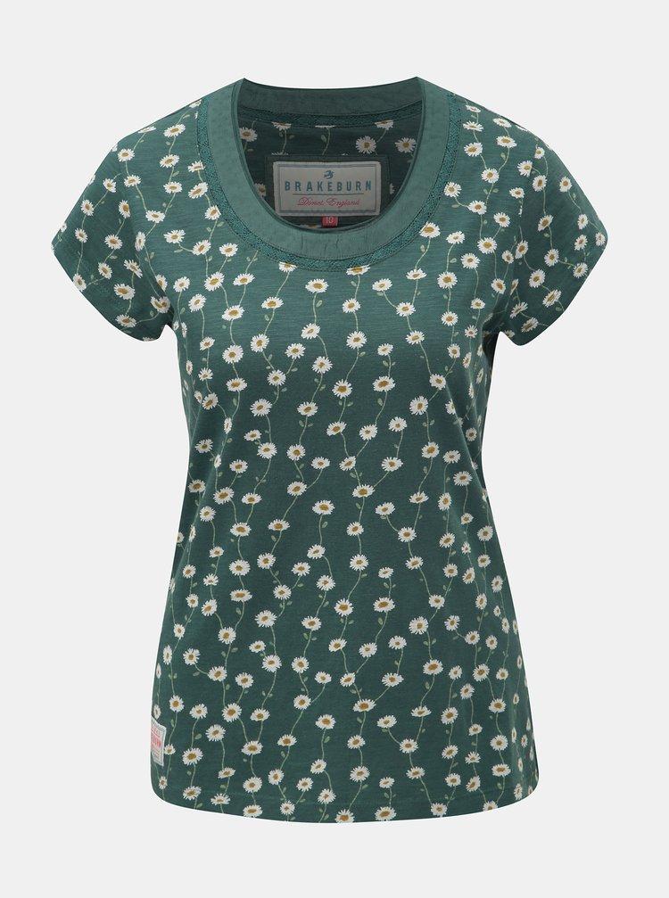 Tricou verde floral de dama cu maneci scurte Brakeburn