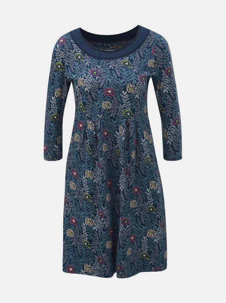 Tmavomodré kvetované šaty s 3/4 rukávom Brakeburn