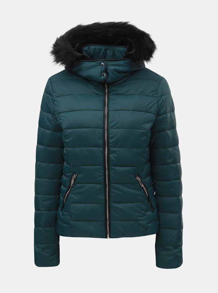 ... Petrolejová prešívaná zimná bunda s odnímateľnou kapucňou TALLY WEiJL fca475fc225