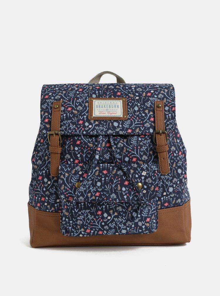 Tmavě modrý květovaný batoh s koženkovými detaily Brakeburn