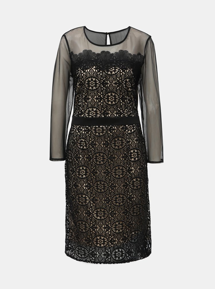 Krémovo–čierne čipkované šaty s priesvitnými detailmi Dorothy Perkins