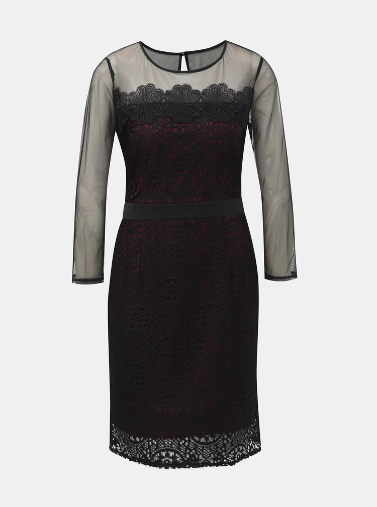 Vínovo-černé krajkové šaty s průsvitnými detaily Dorothy Perkins