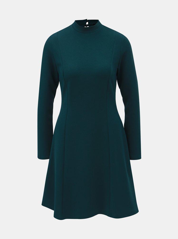 Petrolejové šaty se stojáčkem a dlouhým rukávem Dorothy Perkins