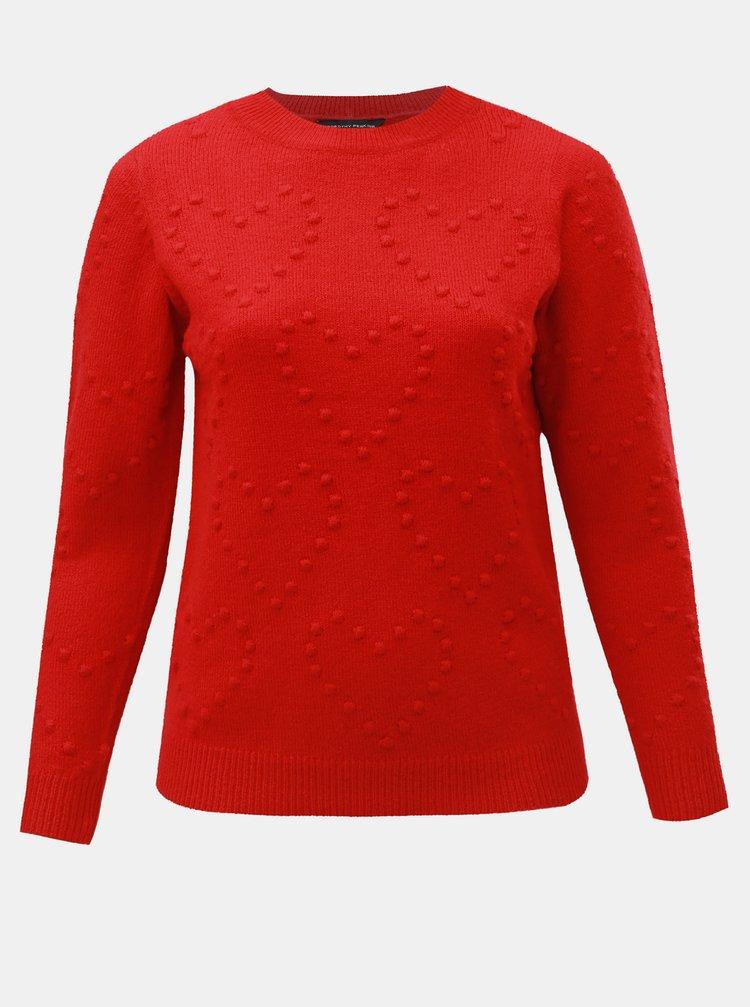 Červený svetr s plastickým vzorem srdíček Dorothy Perkins Curve