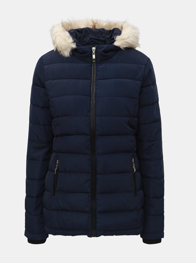 Tmavě modrá zimní prošívaná bunda s umělým kožíškem Dorothy Perkins