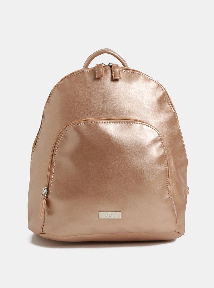 Ružovozlatý koženkový batoh s metalickými odleskami a predným vreckom ZOOT