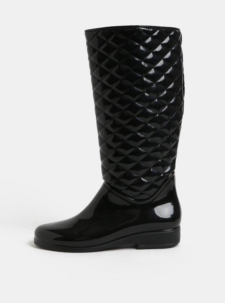 Cizme de ploaie negre lucioase cu model plastic OJJU