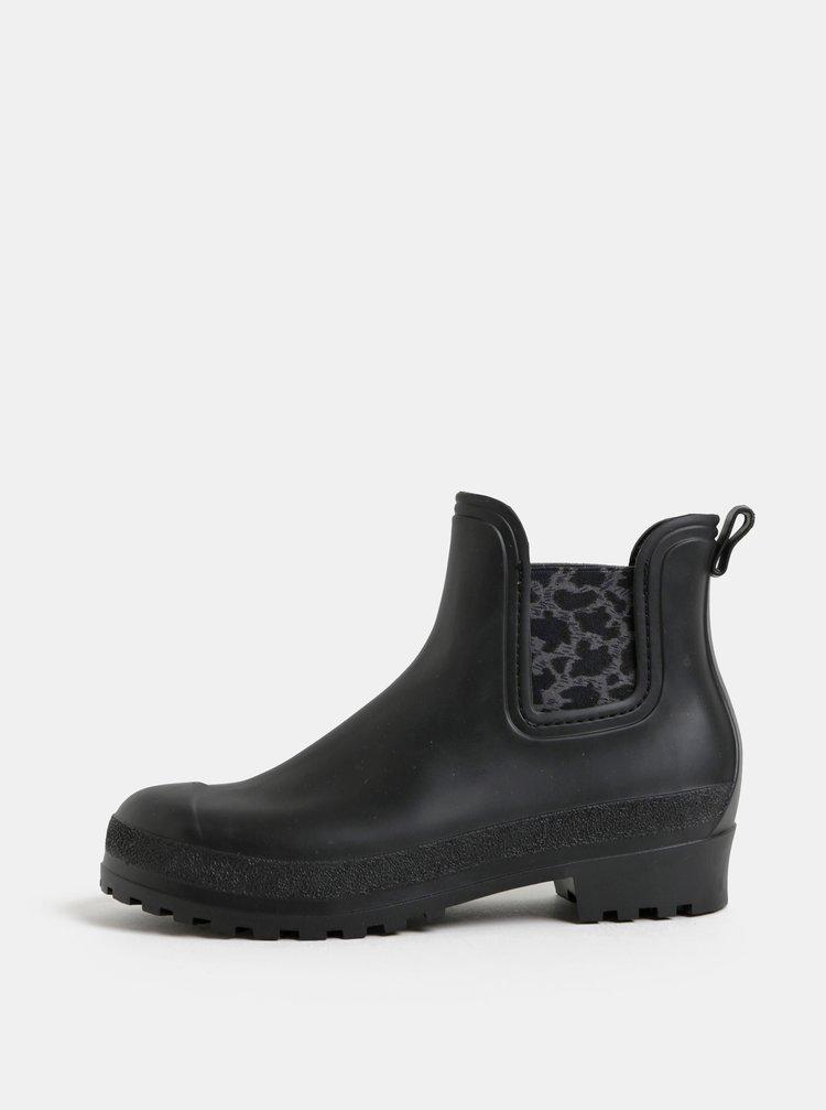 Čierne gumové chelsea topánky so vzorom OJJU