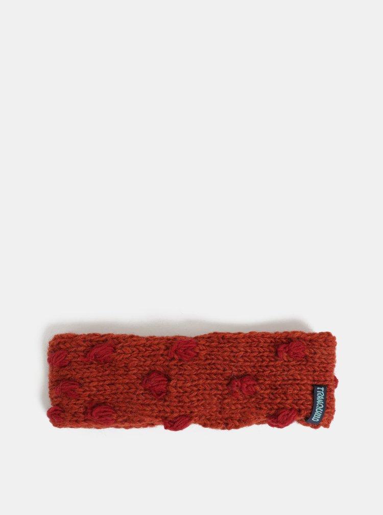 Cihlová vlněná čelenka s puntíky Tranquillo Ask