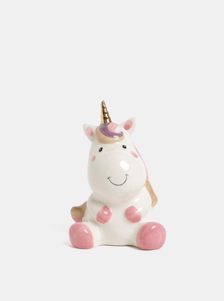 Pusculita roz-alb in forma de unicorn Kaemingk