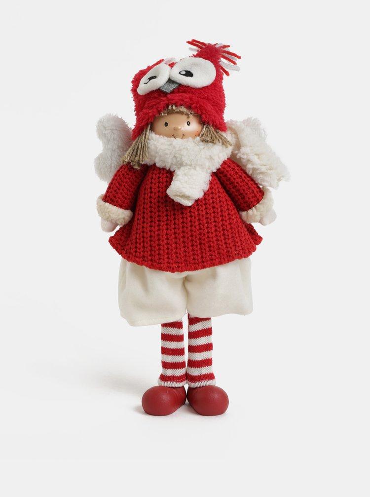 Figurina alb-rosu de Craciun in forma de fetita cu aripi si caciula cu model bufnita Kaemingk