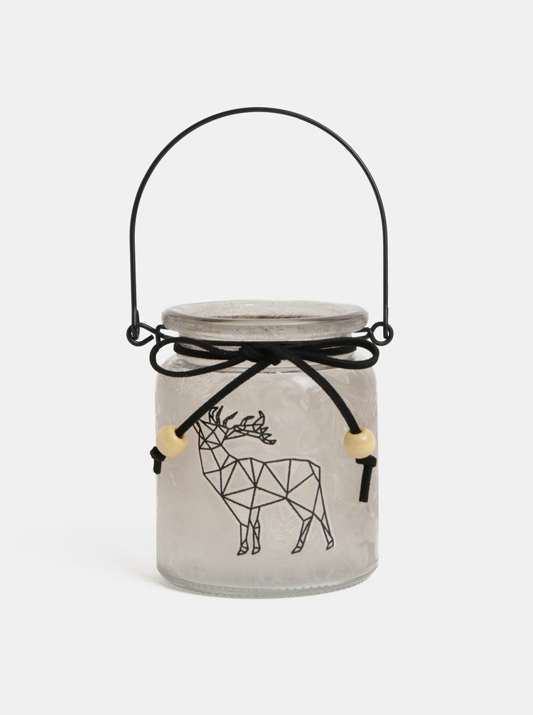 Skleněný svícen s motivem jelena Kaemingk