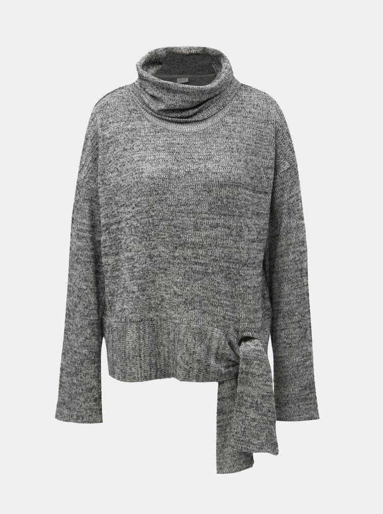 Šedý žíhaný svetr s rolákem se zavazováním na boku VILA Himla