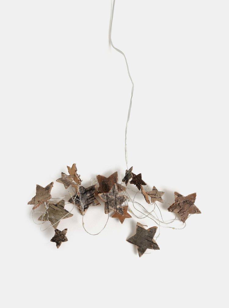 Lant cu lumini micro LED in forma de stele din lemn Kaemingk