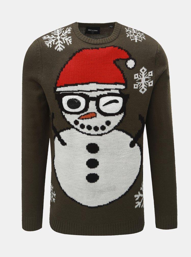 Kaki sveter s vianočným motívom ONLY & SONS Snowman