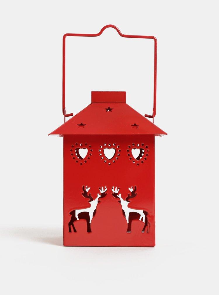 Červený malý kovový lampáš s motívom jeleňa Kaemingk