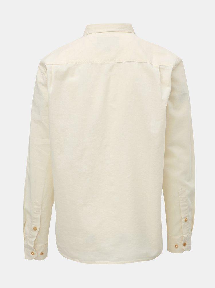 ... Krémová pánská lněná košile s náprsní kapsou BUSHMAN Trafalgar 48af904e3c