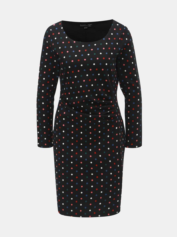 Čierne bodkované šaty s riasením na boku Smashed Lemon