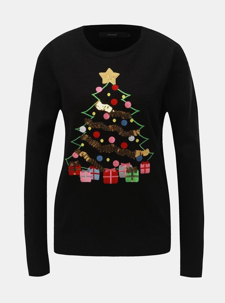 Pulover negru cu paiete si motiv de Craciun VERO MODA Christmas Tree