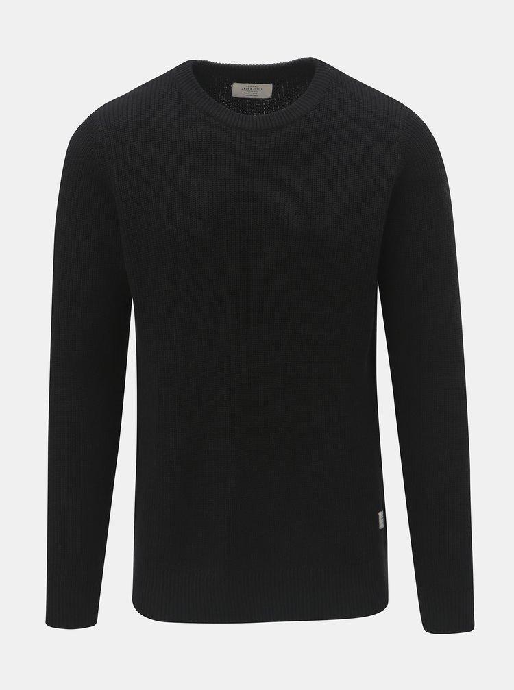 Čierny sveter s okrúhlym výstrihom Jack & Jones Andreas
