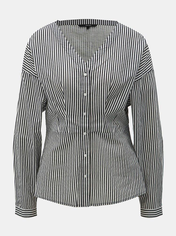 Bluza negru-alb pe corp cu decolteu in V VERO MODA Maji