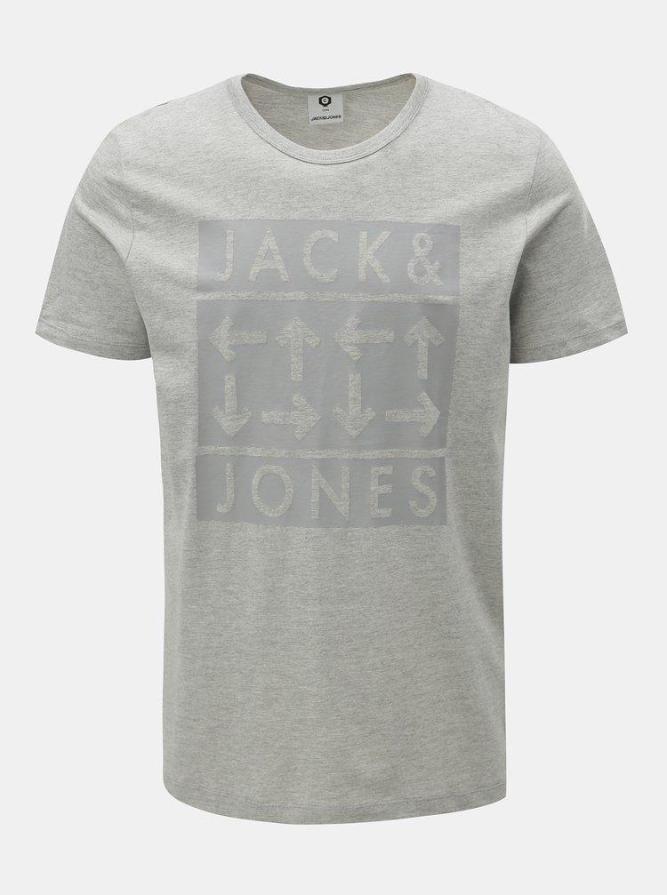 Světle šedé žíhané slim tričko s potiskem Jack & Jones Marl