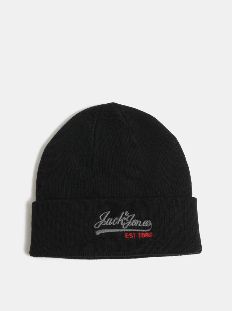 Caciula neagra cu logo brodat si amestec de lana Jack & Jones