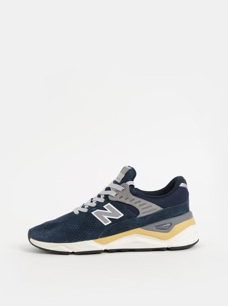 Pantofi sport barbatesti gri-albastru din piele intoarsa New Balance X-90