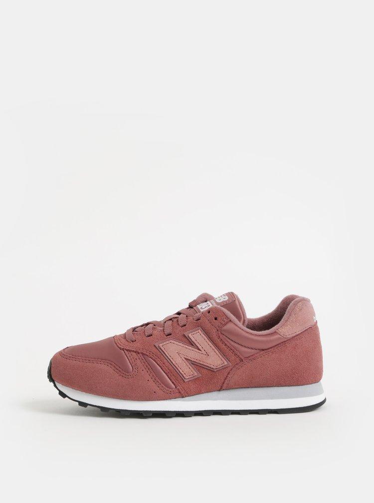 Pantofi sport roz prafuit de dama din piele intoarsa cu imprimeu pe calcai New Balance 373