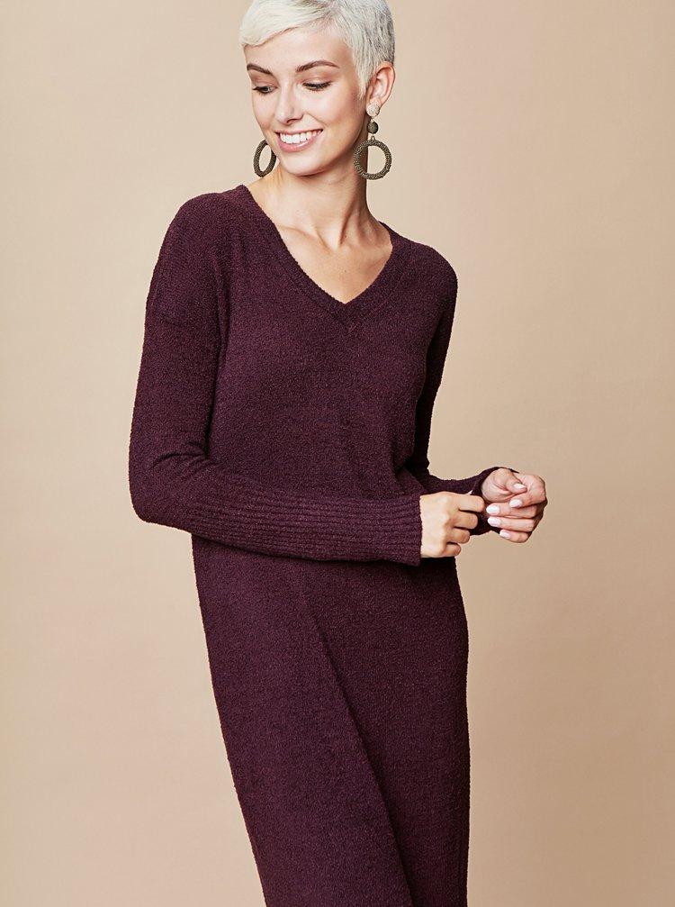 Tmavě fialové svetrové šaty s véčkovým výstřihem a zavazováním touch me.