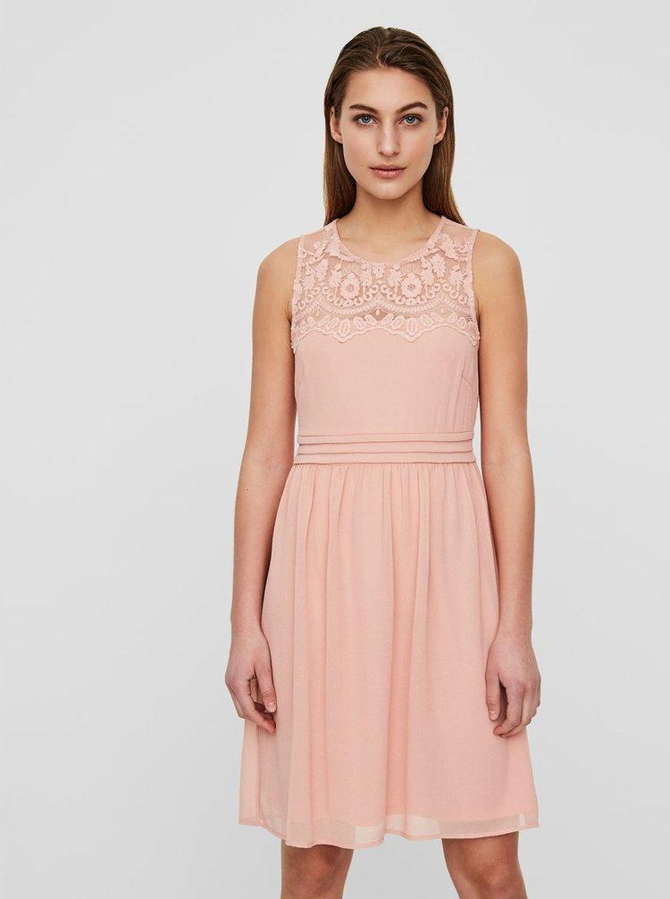 Růžové šaty s krajkou VERO MODA Vanessa