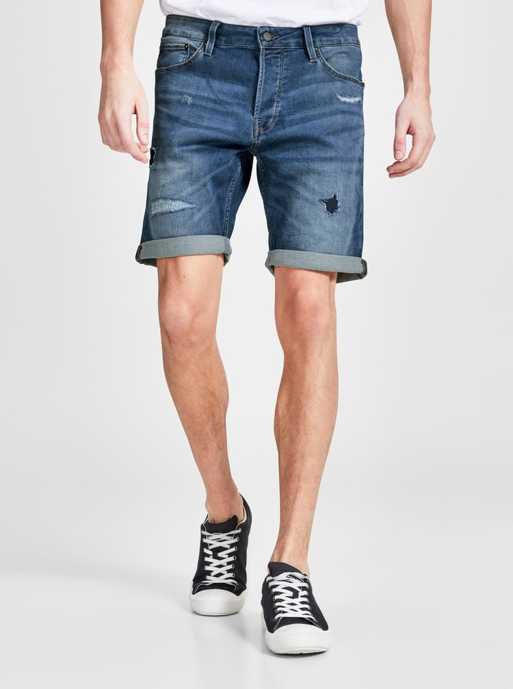 Pantaloni scurti din denim regular fit bleumarin cu aspect deteriorat -  Jack & Jones Rick