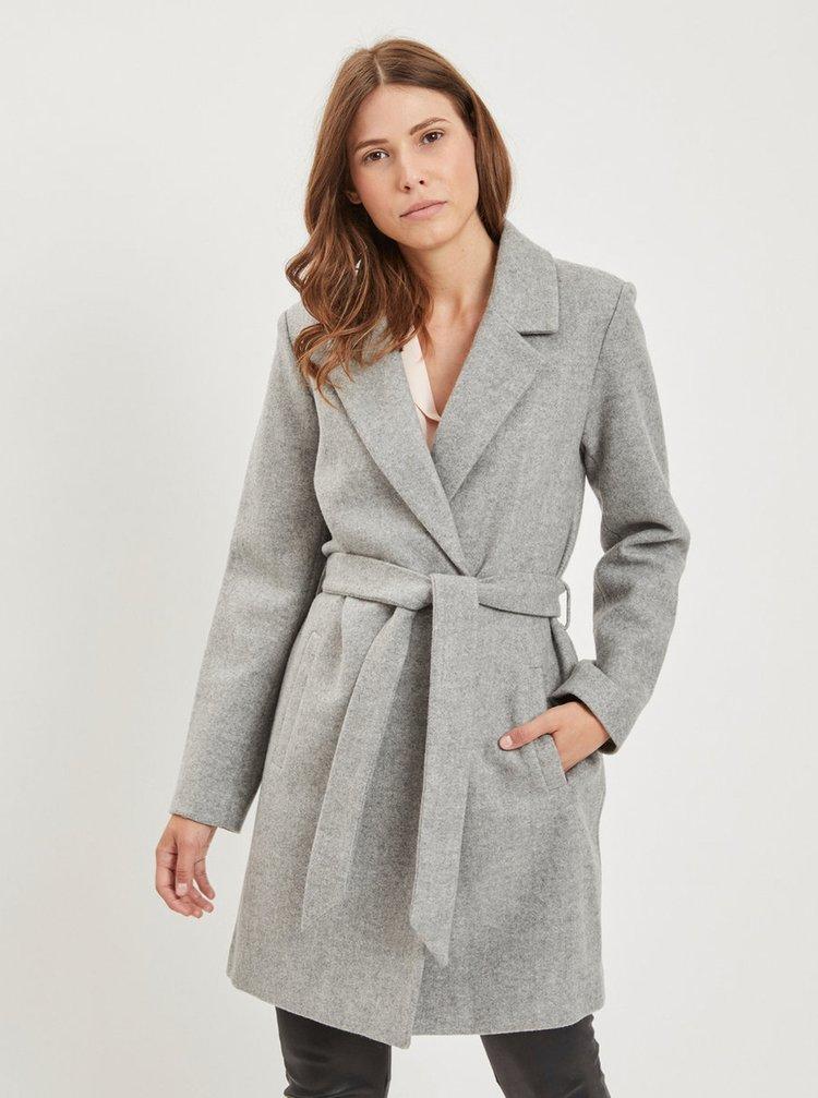 Šedý žíhaný kabát s příměsí vlny VILA