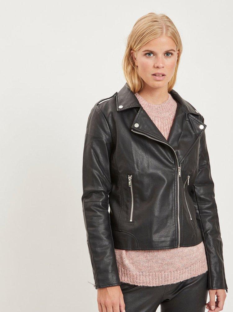 Čierna koženková bunda VILA Cara