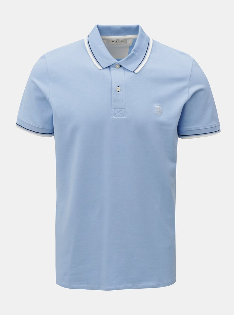 Tricou polo albastru deschis Selected Homme Season