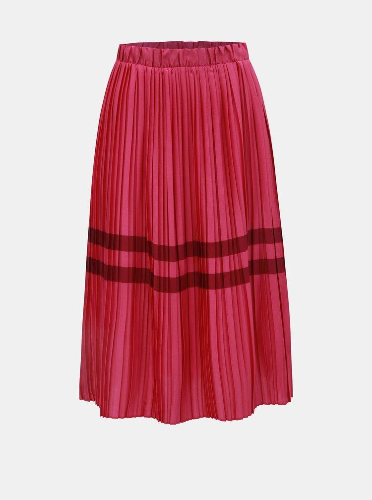 Tmavě růžová plisovaná sukně s pruhy VERO MODA Niti