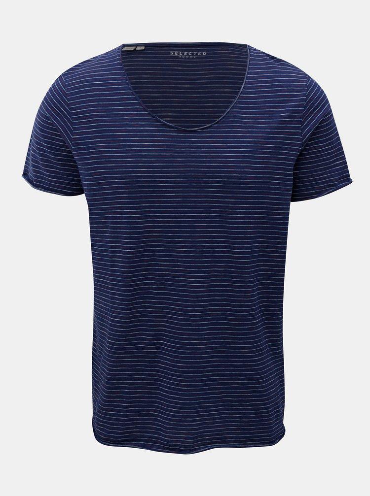 Tmavomodré pruhované tričko Selected Homme Merce
