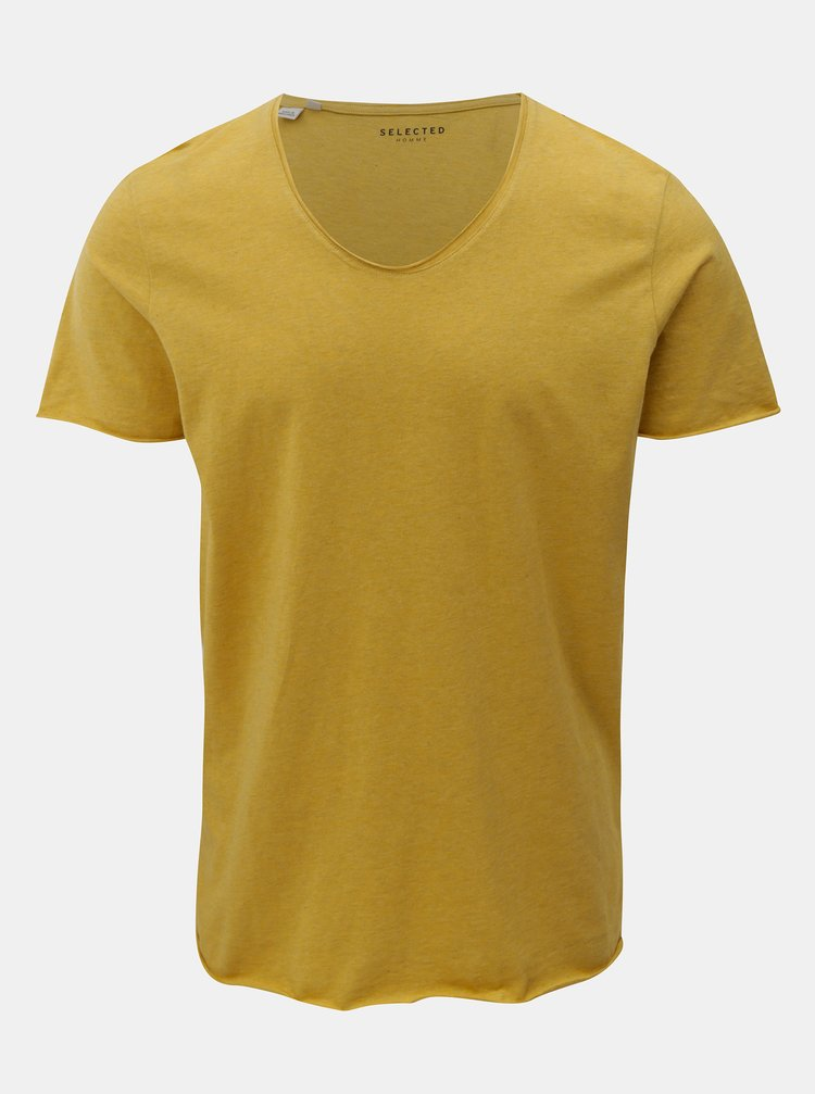 Žluté žíhané basic tričko s krátkým rukávem Selected Homme Merce