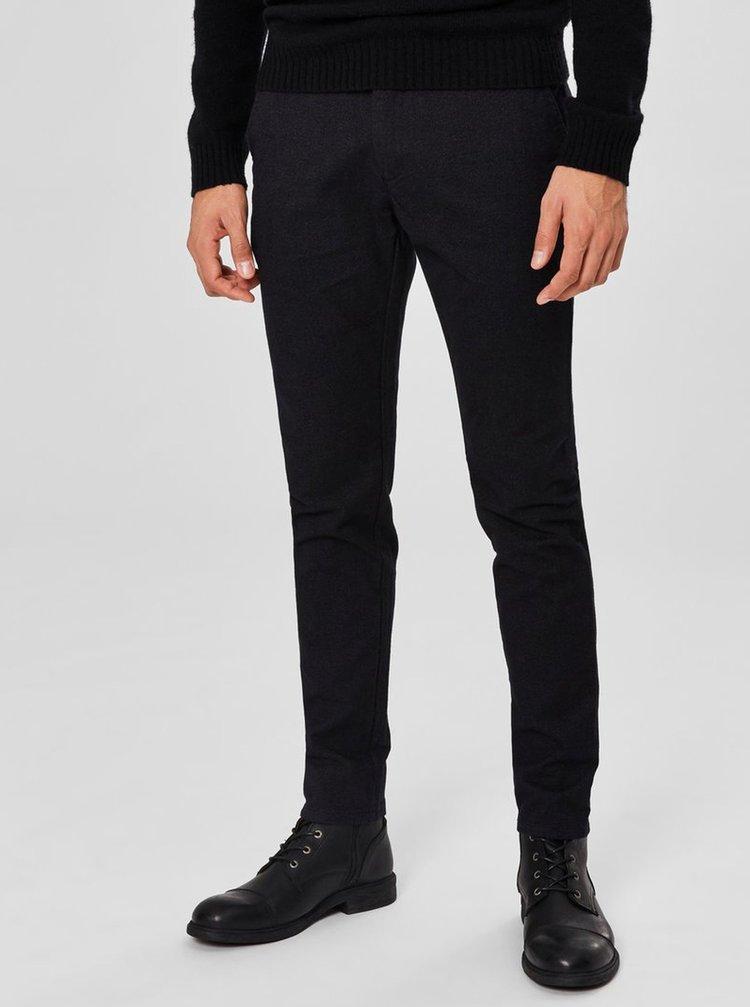 Černé žíhané slim fit kalhoty Selected Homme