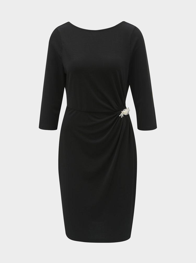 Černé pouzdrové šaty s broží a řasením na boku Dorothy Perkins