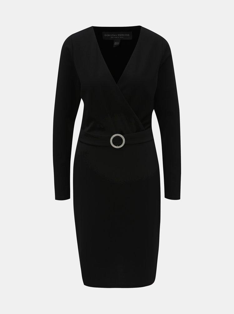 Černé pouzdrové šaty s překládaným výstřihem a páskem Dorothy Perkins Tall