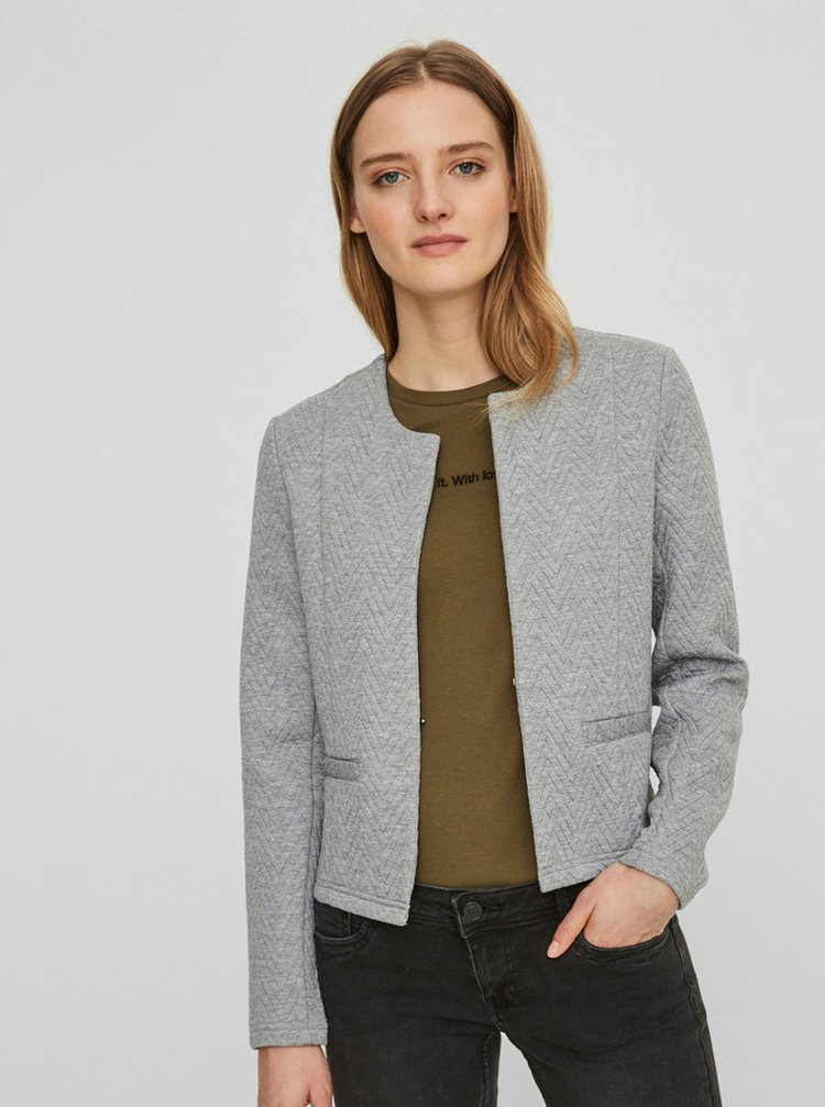 Světle šedé sako s drobným vzorem VERO MODA Mia