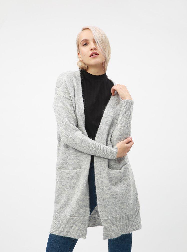 Světle šedý dlouhý vlněný kardigan Selected Femme Livana