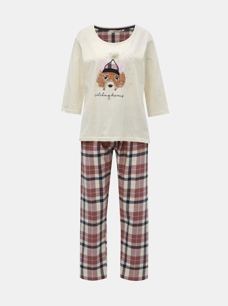 Ružovo–krémové dvojdielne pyžamo s motívom myšky Dorothy Perkins